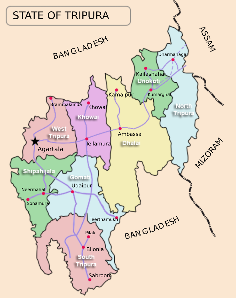 Tripura district map