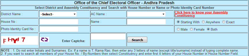 CEO Andhra Pradesh Voter List latest updated 2018, CEO